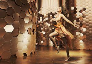 Dancing young lady wearing fabulous dress