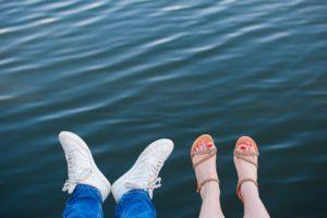 Fashionable cool couple, legs, lifestyle - concept